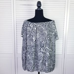 Vince Camuto Zebra Print Off the Shoulder Top